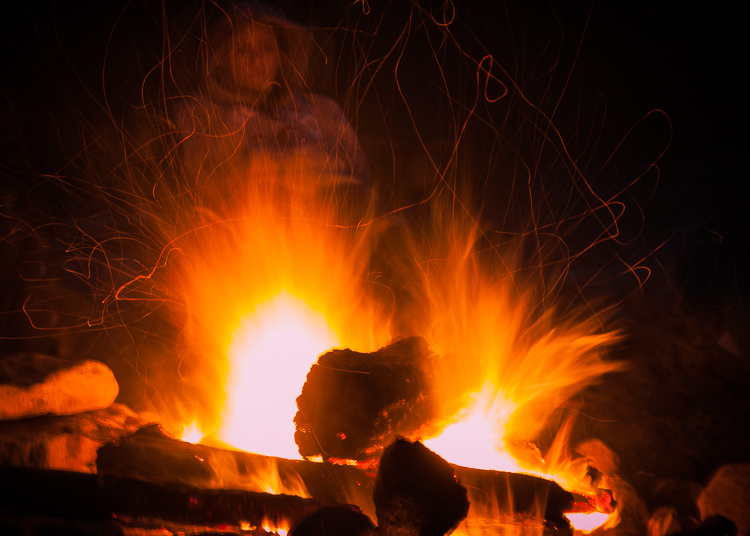 long exposure bonfire