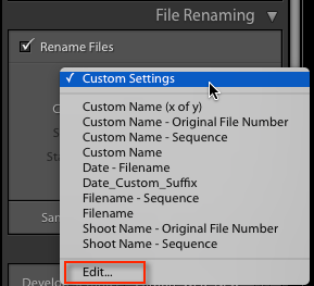 File naming in lightroom 3