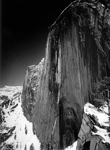 This is a photograph of half dome in Yosemite taken in 1927 by Ansel Adams