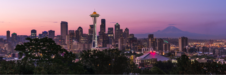 Sunrise view of Seattle, Washington and Mount Rainier