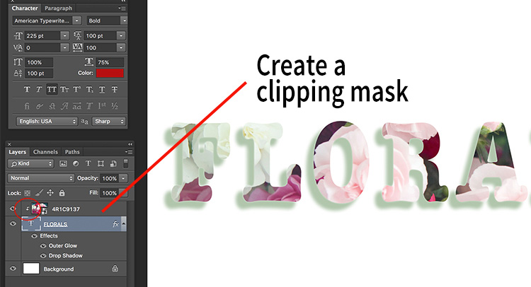 Add a clipping mask to the image layer (Menu option - layer -> create clipping mask). The image will automatically appear behind the text and the effect will be seen through the text.