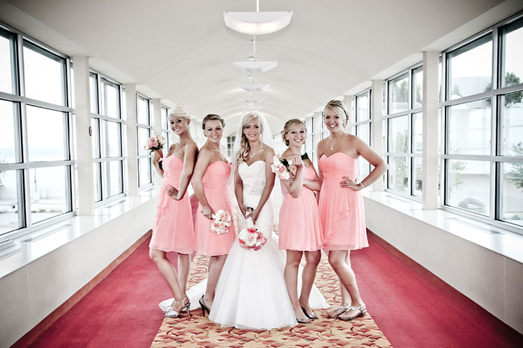 Bride bridesmaids posed wedding