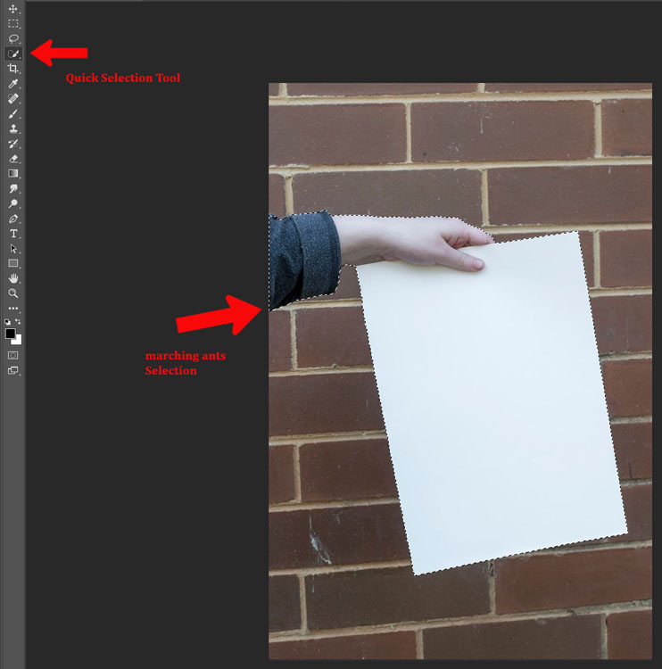 How to Make a Sketch inside a Photograph - selection of hand and paper