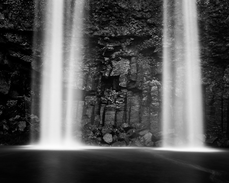 black and white landscape waterfall