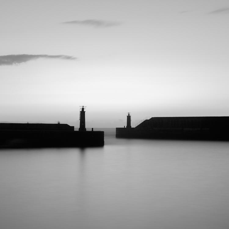 black and white landscape photo