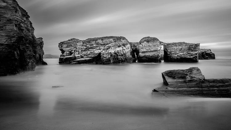 long exposure black and white seaside landscape photo