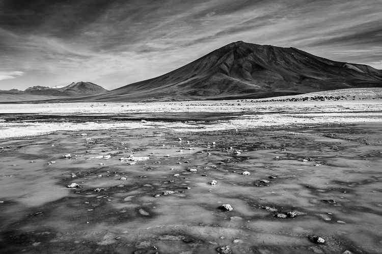 Black and white landscape photo