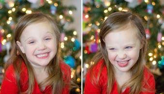 How to Take Photos of Kids with a Christmas Tree Bokeh Background