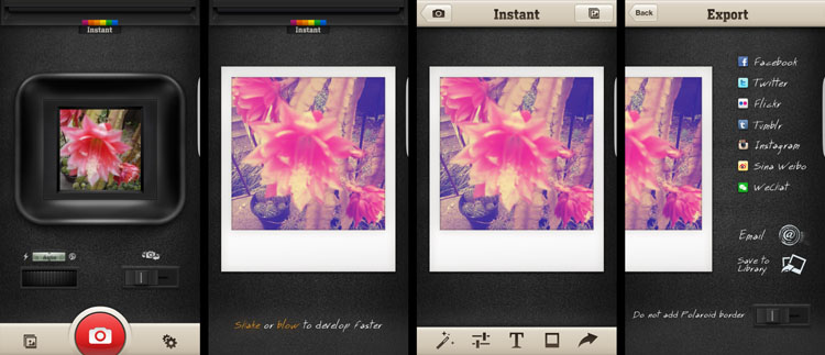 Android phone photography tips Instant app Polaroid.