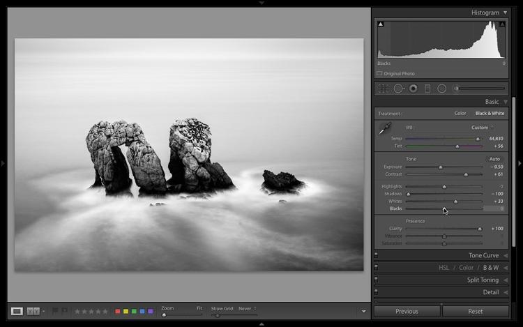 The Lightroom histogram contrast adjusted