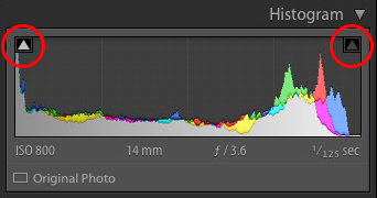 The Lightroom histogram clipping