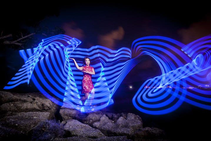 In this photo a Jinbei 600 flash was used to light the model, while the pixelstick produced the light painting.