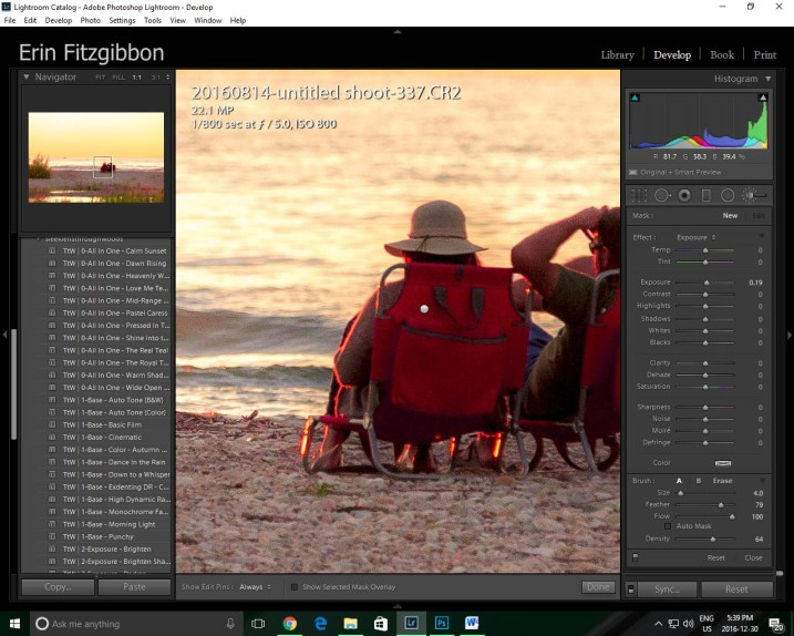 Lightroom features 1:1 preview window