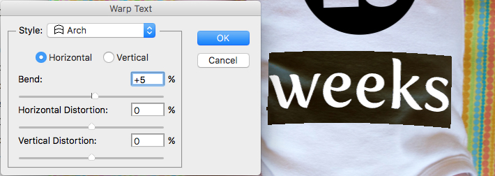 How to Use Photoshop to Create Milestone Photos of Babies warp text tool