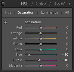 Selective coloring in Lightroom