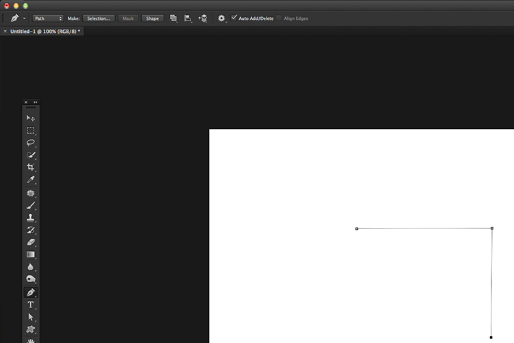 Clicking on the canvas to apply anchor points which creates straight lines. Pen tool