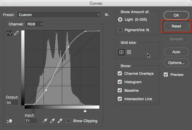 How to Understand Curves in Photoshop - reset