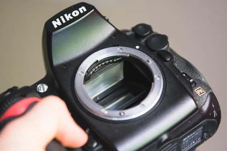 Inspect inside body used camera gear