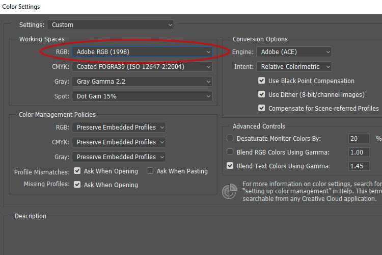 1a Working RGB space - 6 Color Settings in Photoshop That You Need to Know