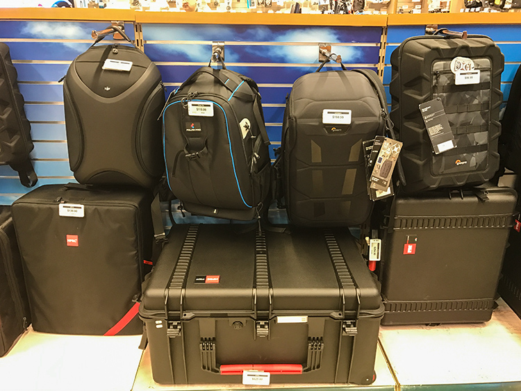 Image: Selection of drone cases and backpacks at the B&H Superstore in New York
