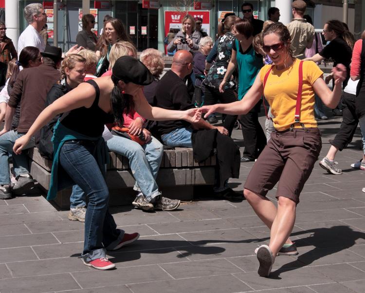 camera etiquette - 2 ladies dancing