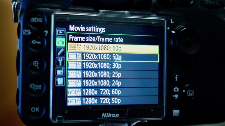 "Image: Frame rates are normally found in the ""movie settings"", which is at the bottom of the ""Shooti..."