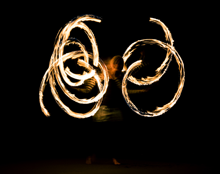 Image: Fire dancers on the beach