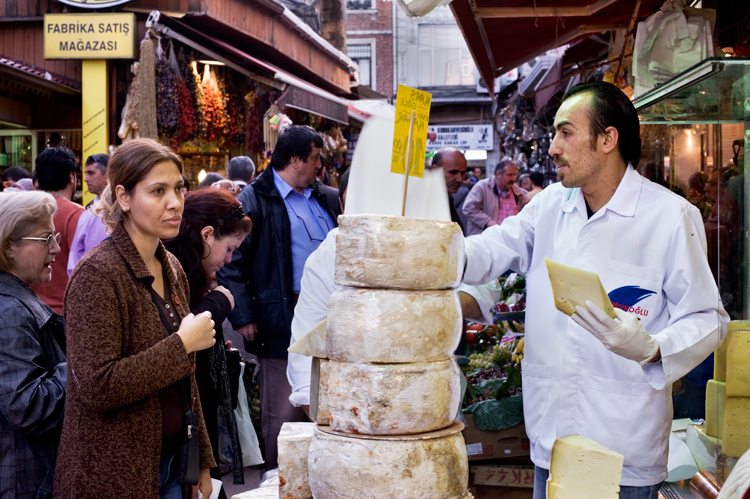 Vendor selling cheese at the Istanbul spice market - How to be Better Prepared for Your Next Photo Shoot