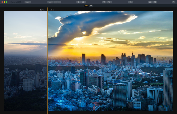 Image: Before and after image showing what is possible with HDR.