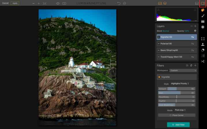 Luminar for Beginners - Side panel open
