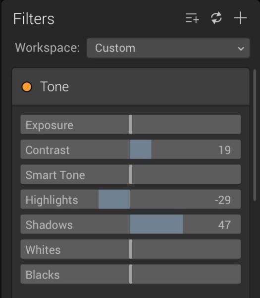 Luminar for beginners - filter panel