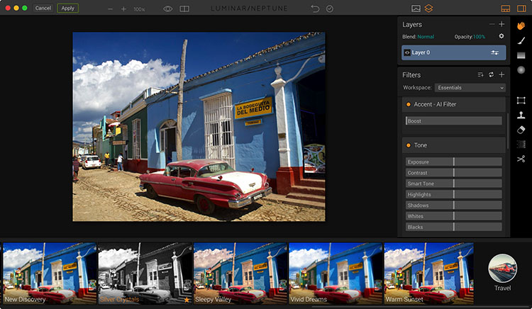 Luminar plugin interface