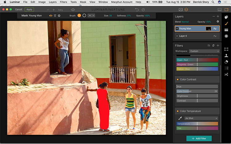 Brushing on effects in Luminar
