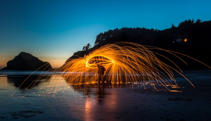 Image: The ultimate light painting is fire spinning.