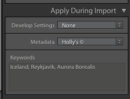 keywords upon Lightroom Import - Why Lightroom Keywords and Star Ratings are Important for Your Photography Workflow