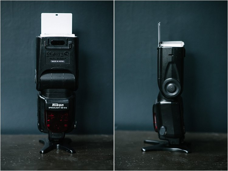 Image: My speedlight with the white bounce card extended.