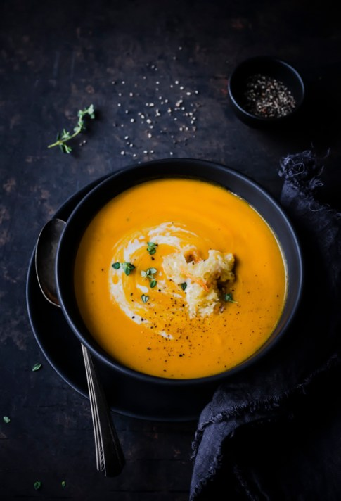 Carrot Ginger Soup - Five Essentials of Doing Dark Food Photography
