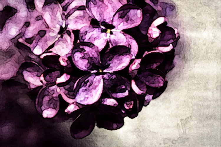 How to Turn Your Photos into Painterly Style Watercolor Art - lilacs