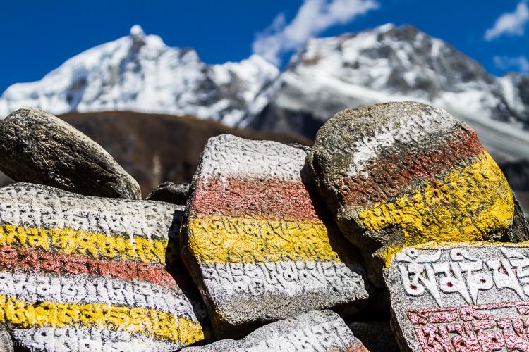 Image: Mani stones and the Himalayas – Nepal