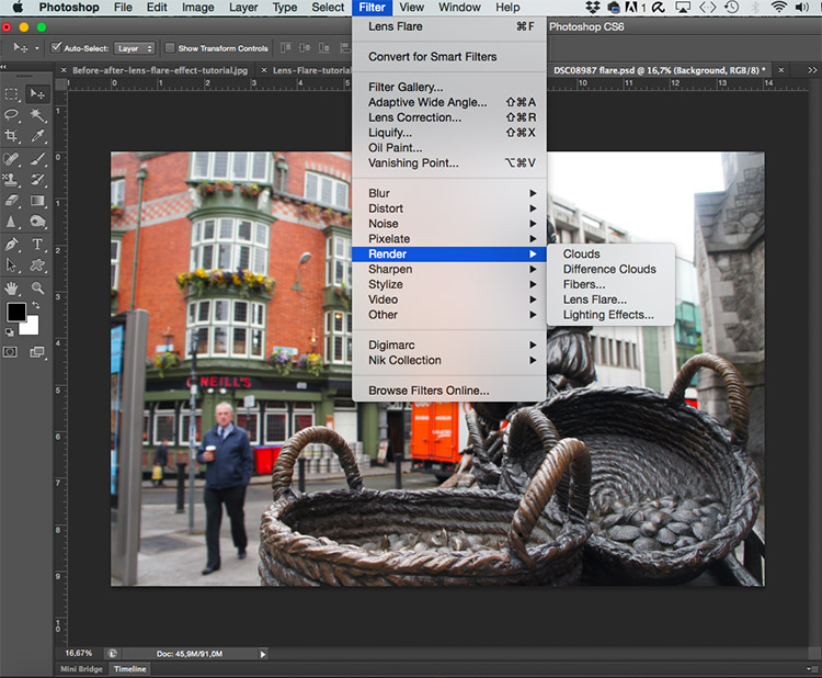 Photoshop Lens Flare Filter Tutorial -