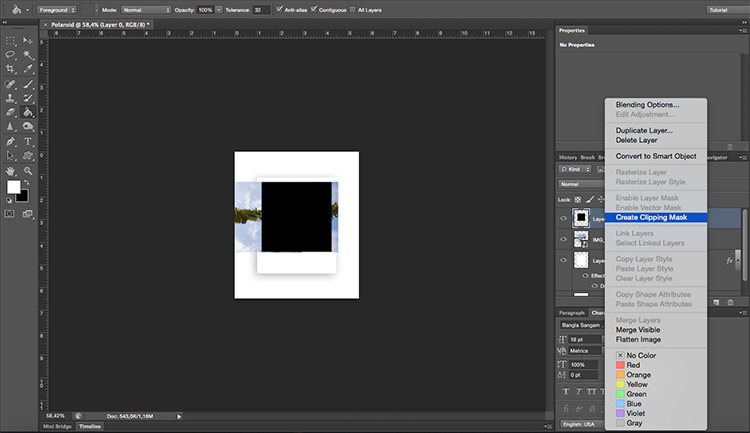 Polaroid effect tutorial clipping mask