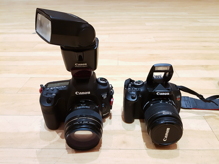 Image: Left: On-camera flash rotated to bounce off a wall to the side. Right: Built-in flash that ca...