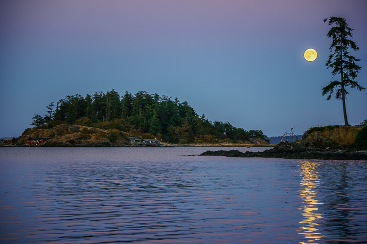 Moonrise over Shack Island - 3 Techniques and Tips for Photographing the Moon in the Landscape