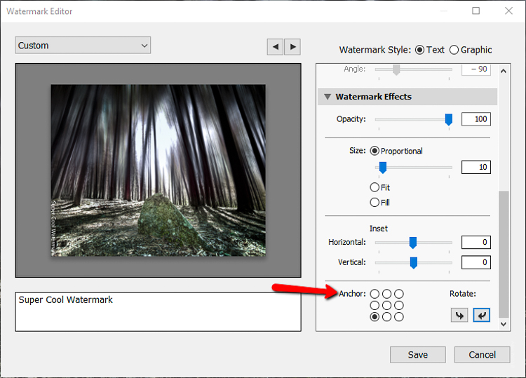 set the anchor points - How to Add Watermarks to Your Images Using Lightroom