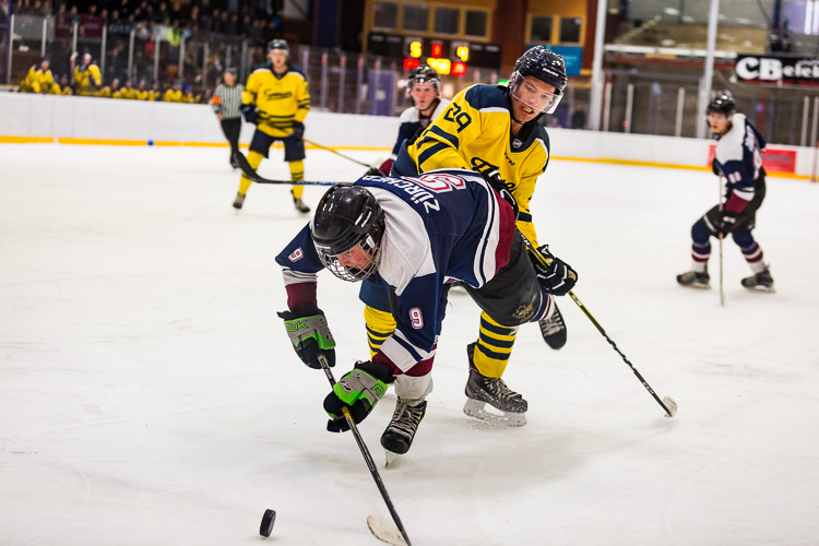 Two hockey players fighting for the puck in the corner of a rink - Tips for Editing Hockey Photos in Lightroom