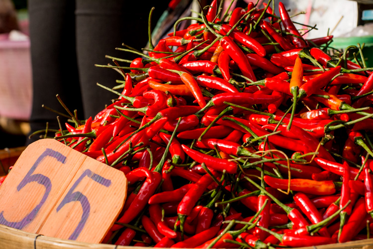 Chilies at the street market - better background