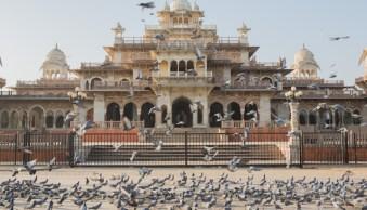 Karthika Gupta Albert Hall Jaipur India at Sunset with pigions-1