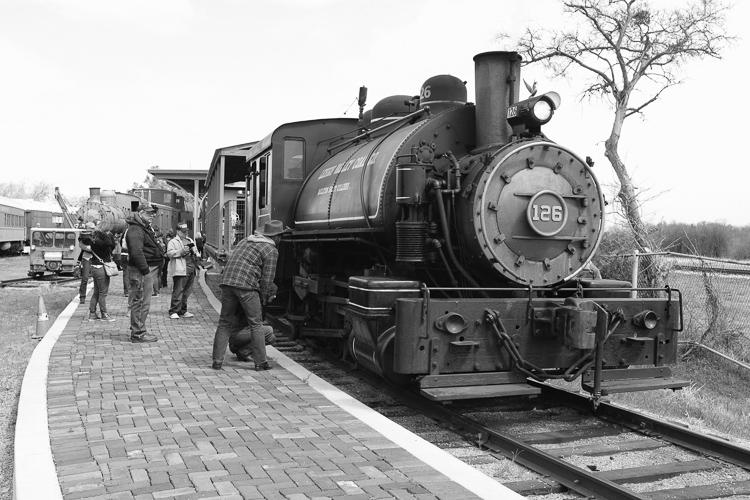 train in black and white