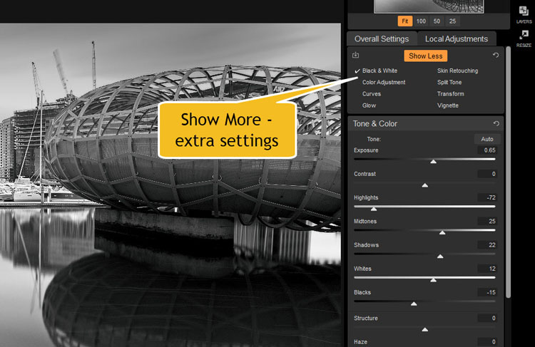 Image: Under Overall Settings, you will see Show More. You will be given more options for adjustment...