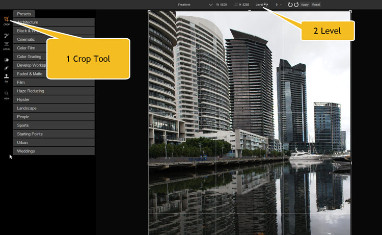 Image: To make your image level you need to click on the crop tool first, and then look for the leve...